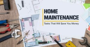 Home maintenance tools with blog title written on blueprints