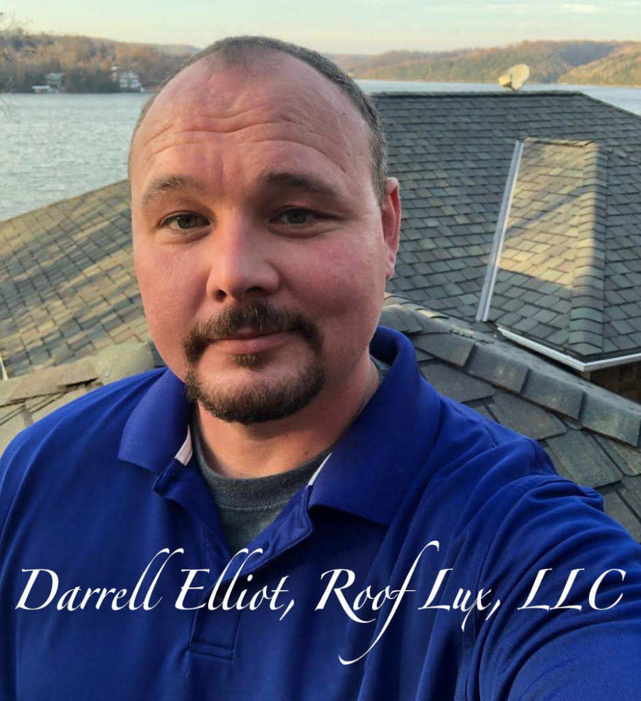 Darrell Elliot on a roof at Lake of the Ozarks