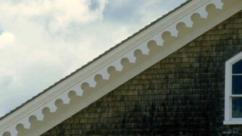 Victorian style bargeboard on a gabled roof