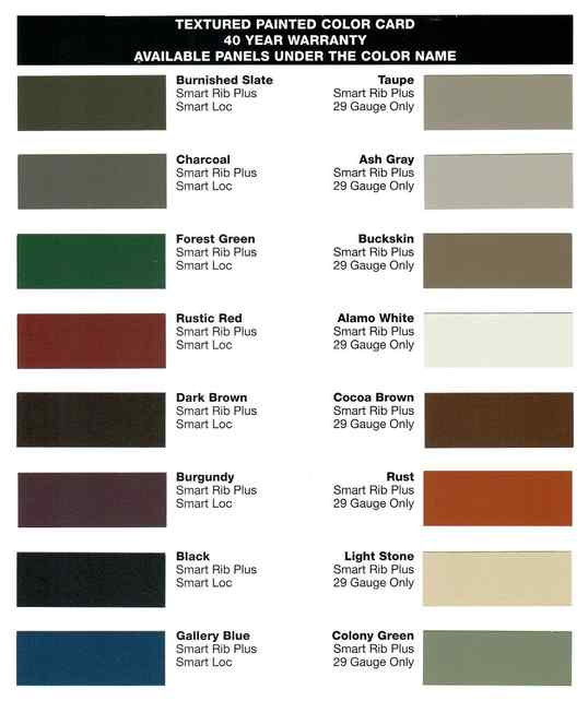 Metal roofing color chart for our Textured colors