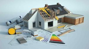 3D rendering of a house undergoing renovations with the best roofing for energy savings, blueprints and other documents